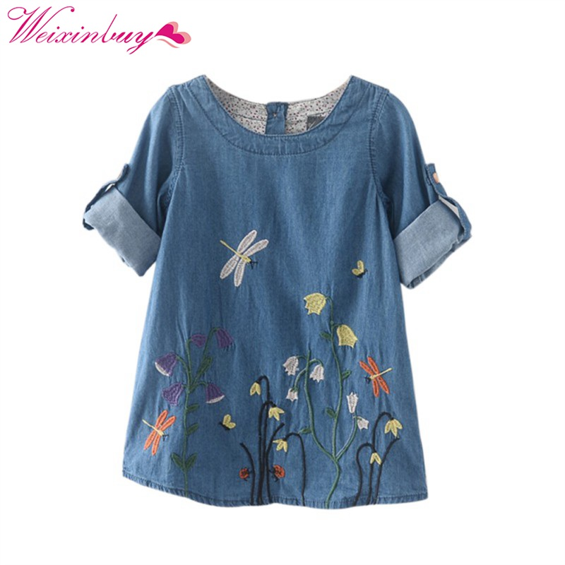 New Stylish Spring Autumn Children Clothing Denim Dress Kid Girls Dragonfly Flower Embroidery Fresh Denim Dresses Vestidos hotNew Stylish Spring Autumn Children Clothing Denim Dress Kid Girls Dragonfly Flower Embroidery Fresh Denim Dresses Vestidos hot