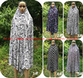 (12 unids/lote) de Una sola pieza Impresa Lycra Mujeres Musulmanes Ropa Islámica Del Vestido de Prendas de vestir Damas Hijab Abaya Oración KhimarJilbab QK034