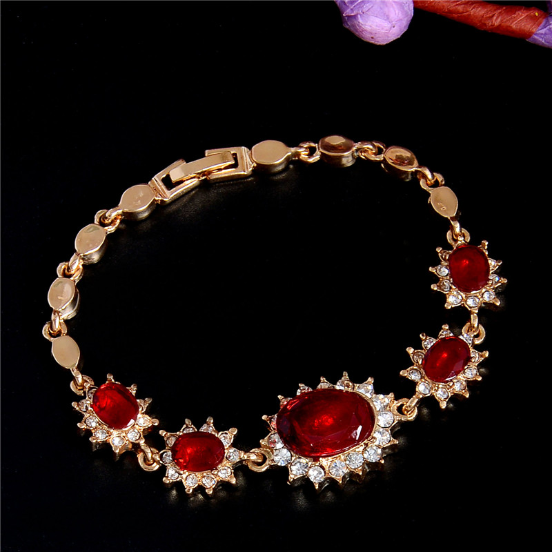 QCOOLJLY  Fashion Women's/Girl's  Gold Color Austrian Crystal 5 colors CZ Stones Bracelets & Bangles Gift Jewelry