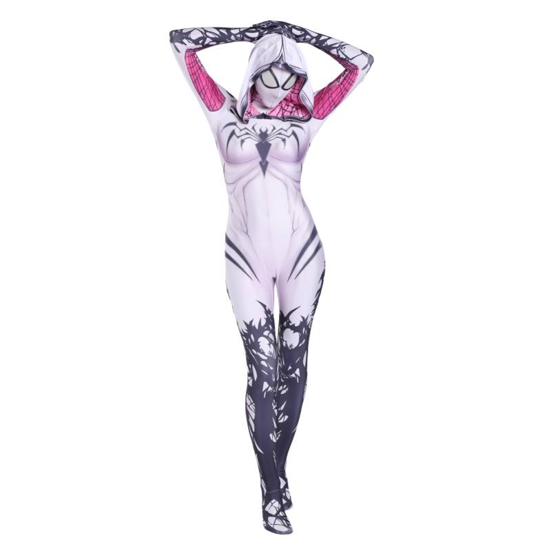 Spider Gwen Stacy Spandex Lycra Zentai Spiderman Costume for Halloween Cosplay Female Suit Anti-Venom Girls Woman