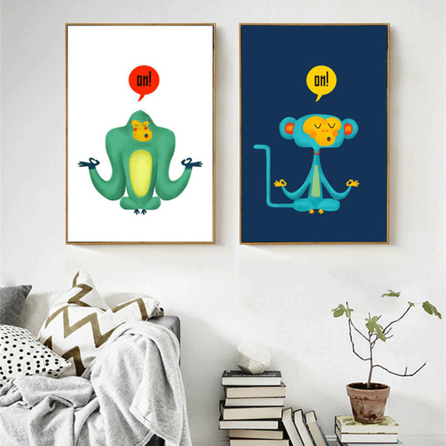 Us 10 33 10 Off Haochu Yoga Monkey Cute Cartoon Animal Print Poster Canvas Painting For Kids Room Home Decor Wall Picture Quadro Art Craft In