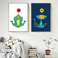 HAOCHU Yoga Monkey Cute Cartoon Animal Print Poster Canvas Painting For Kids Room Home Decor Wall