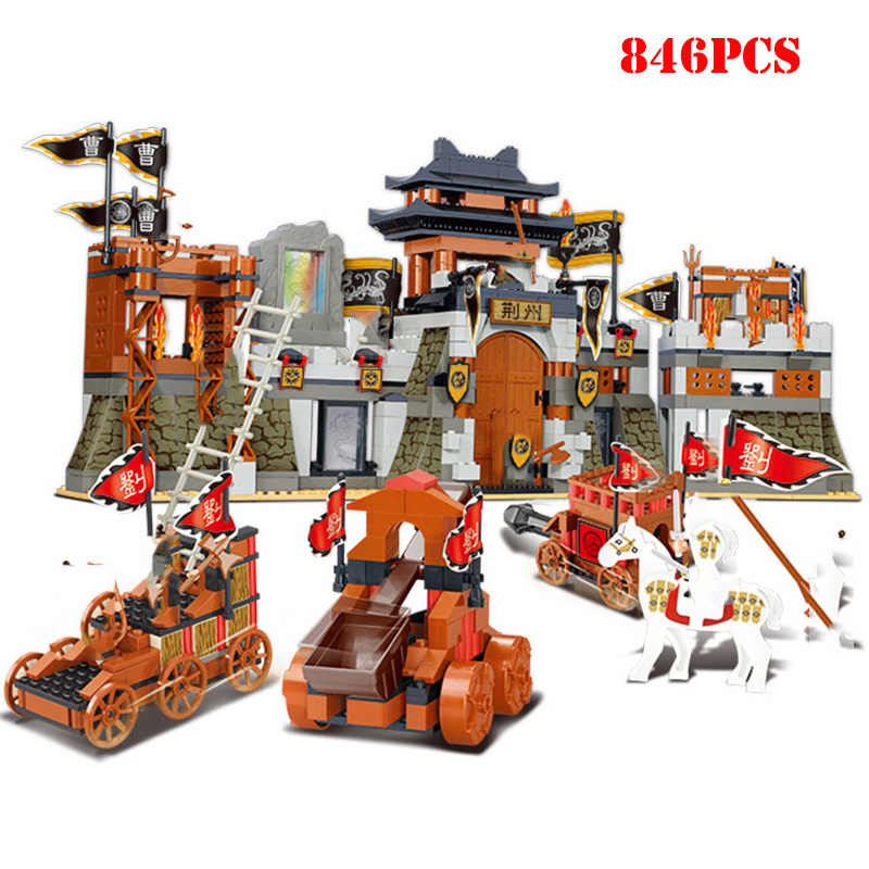 Chinese Culture Ancient Jingzhou <font><b>Castle</b></font> Military War Building Blocks Compatible <font><b>Legoings</b></font> City Technic Bricks Children Toys Gifts image