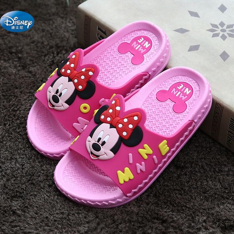 2019 New Girl Minnie Sandals Disney Mickey Flip Flops Slip Wear-resistant Baby Slippers Boys Sandal  Size 26-36