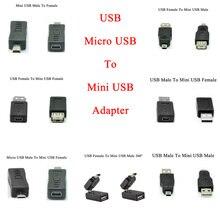 5 piezas Micro USB macho hembra a Mini USB 5 Pin macho hembra adaptador de enchufe Adaptador convertidor