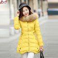 Winter Jacket Women Slim  Fur Collar Thickening Coat Hooded Medium-Long Down Parka Plus Size Outwear Casual Overcoat YL1204