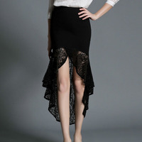 Black Cotton And Transparent Victorian Lace Ruffles Trumpet / Mermaid Long Sexy Skirt Gothic Skirts For Women Matching Corset