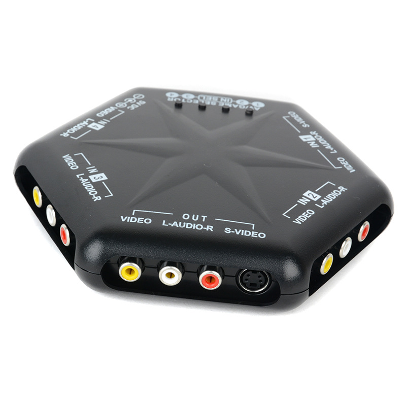 1pc Plastic A/V Selector 4 in 1 out S-Video Video Audio Game <font><b>Switch</b></font> Box Selecting RC <font><b>RCA</b></font> Splitter <font><b>Remote</b></font> image