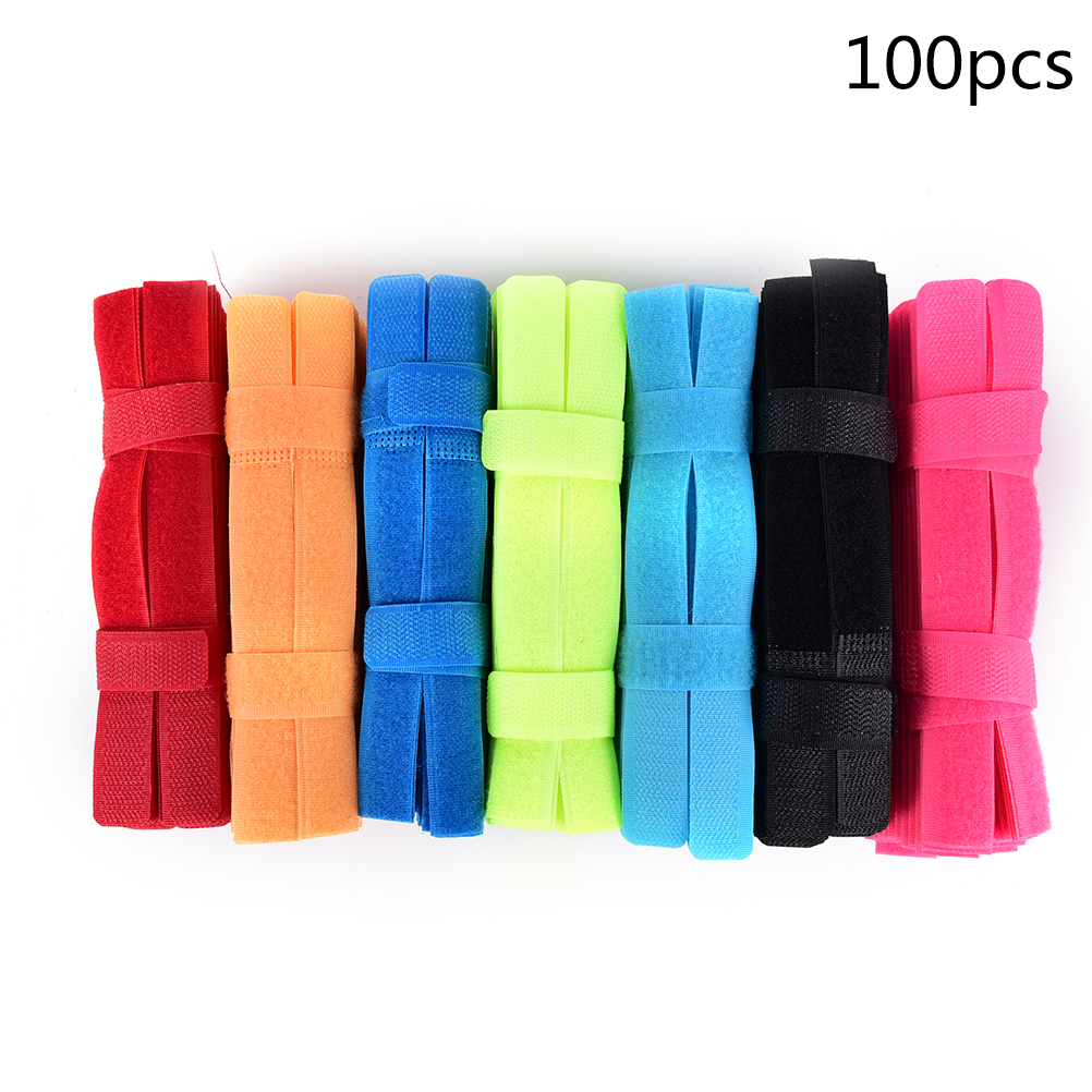 100pcs/lot 2x18cm Computer Management Cable Ties Fastener Nylon Tidy Ties Cord Wire Cable Strap Loop Management Tool 90 G