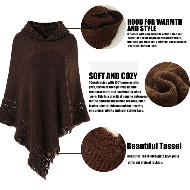 NN Casual Women Sweater Hooded Poncho And Cape Knitted Sweaters Tassel Pullover Solid Sweater Women Poncho And Capes Warm Coat