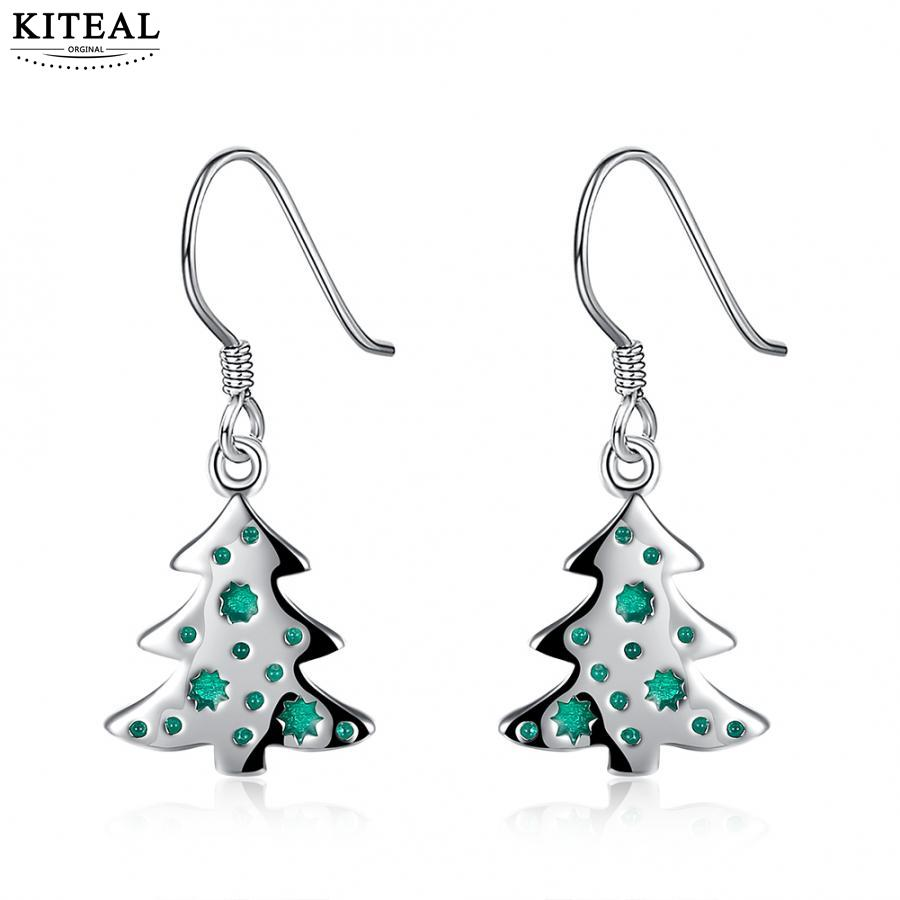 KITEAL 2017 silver plated women earring Christmas tree drop Merry Christmas gift ear cuff jewelry display