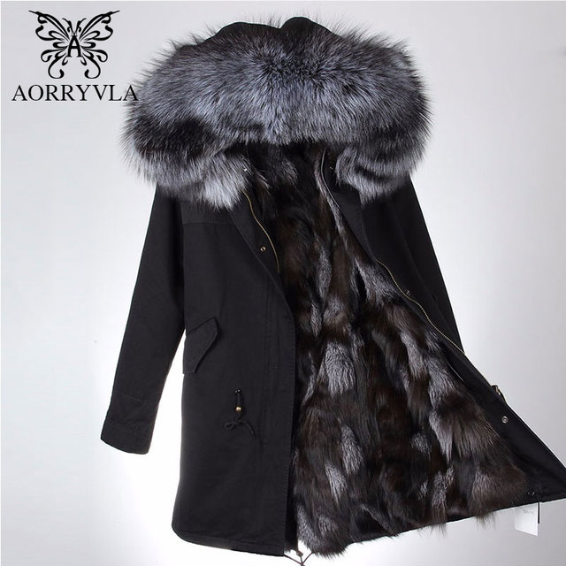 AORRYVLA Real Fur Parka For Women Winter 2018 Large Raccoon Fur Collar Hooded Long Coat Real Fox Fur Lining Female Warm Parka