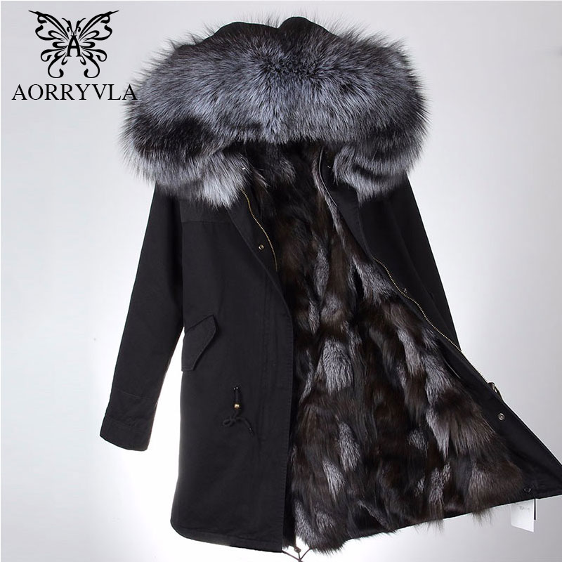 AORRYVLA Real Fur   Parka   For Women Winter 2018 Large Raccoon Fur Collar Hooded Long Coat Real Fox Fur Lining Female Warm   Parka