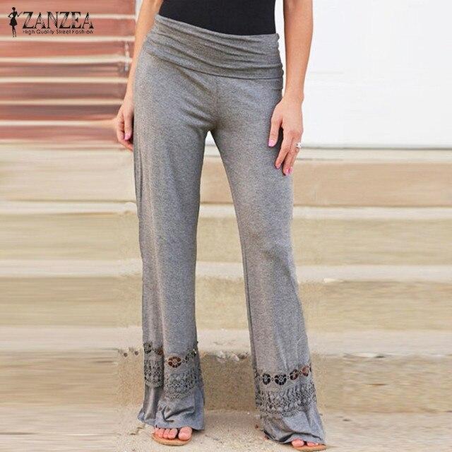 2016 Fashion Vintage Loose High Waist Long Trousers Lace Patchwork Casual Cotton Pants Wide Leg Pants Plus Size ZANZEA Women