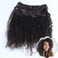 """Afro Kinky Curly Clip In Hair Extensions 12"""" 7PCS/10PCS 70G-220G Clip In Human Hair Extensions Brazilian Virgin Hair Black #1B"""