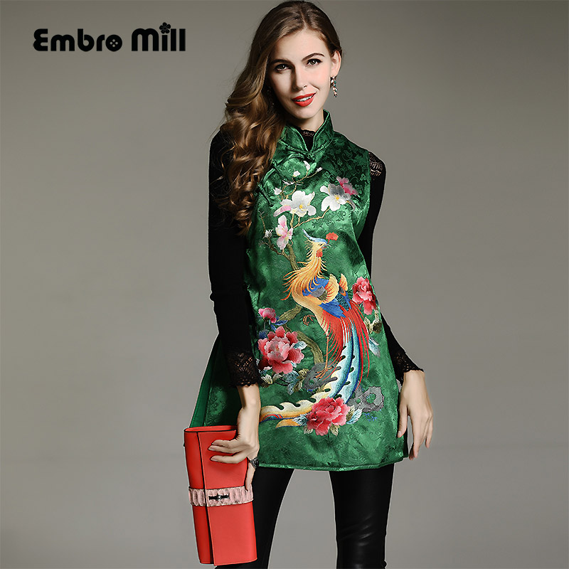 7b2cc64814 Autumn women Chinese style floral midi cheongsam dress embroidery dresses  elegant loose lady Qipao party dress L-XXL