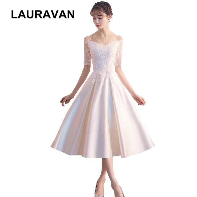 short country elegant off shoulder boat neck bridesmaid dresses champagne bridemaids tea length fitted dress modest to party