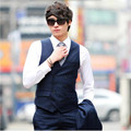 Vestido de Boda Para Hombre Chalecos Ocasionales de doble Botonadura Capa de La Cintura Coreana Traje Formal chaleco Chalecos Para Hombres formales