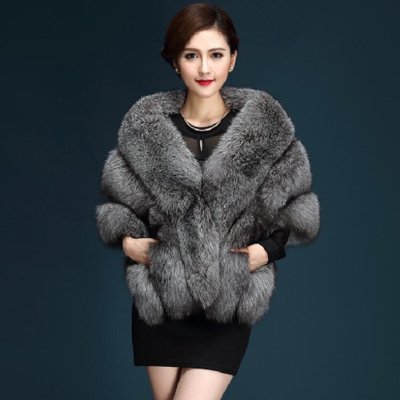 New Winter Faux Fur cape Coats luxury fox fur imitation mink fur poncho bridal wedding dress shawl women vest fur coat s1519