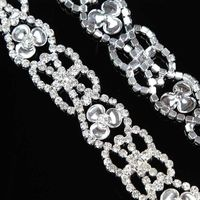 100Yards Rhinestone Clear Crystal Applique Silver Wedding Bridal Costume Sewing Trims
