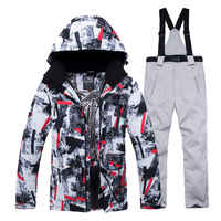 Chaqueta + conjunto de pantalones de correa traje de nieve para Hombre Ropa deportiva al aire libre conjuntos de snowboard impermeable a prueba de viento traje de invierno ropa de esquí