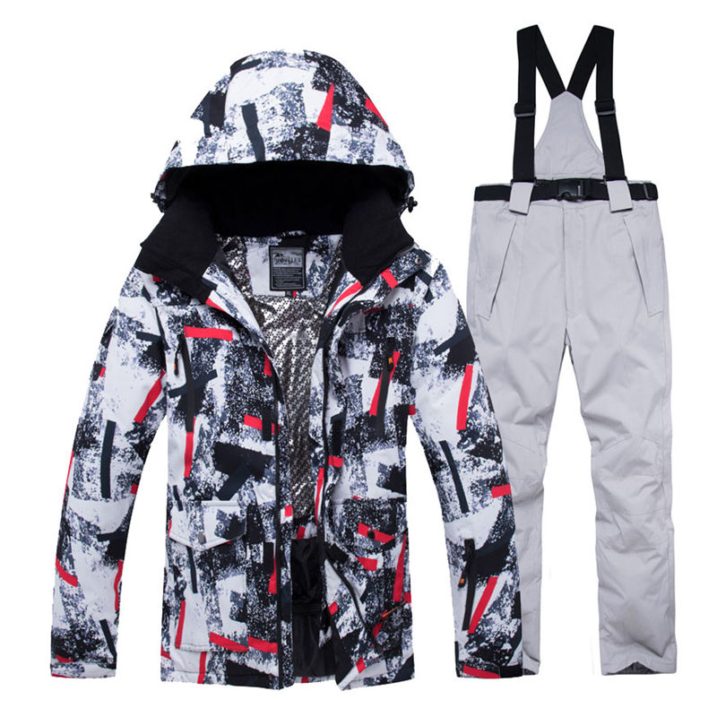 Jacket + Strap Pant Sets Men's Snow Suit Outdoor Sports Clothing Snowboarding Sets Waterproof Windproof Winter Costume Ski Wear