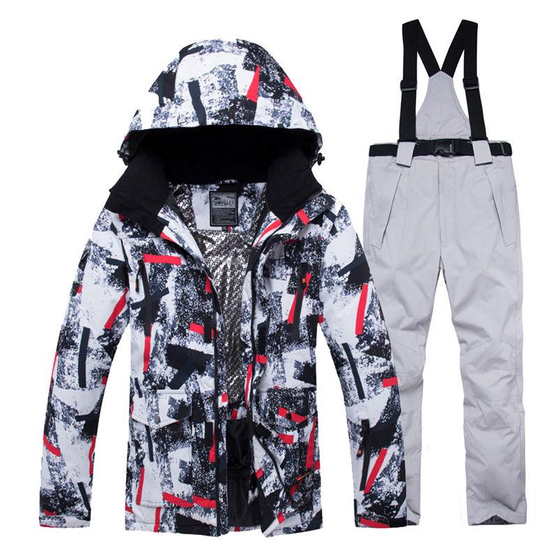 Jacket + Strap Pant Sets Men's Snow Suit Outdoor Sports Clothing Snowboarding Sets Waterproof Windproof Winter Costume Ski Wear