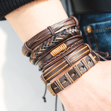Brown Couple Charm Bracelets Set For Men Woman Vintage Wristbands Multiple Bracelet Bangles Party Jewelry