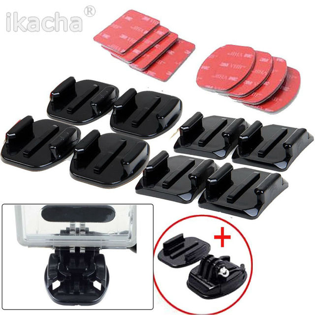 New Arrival For GoPro HERO 4 Accessories Flat, 8 pcs Flat Curved Adhesive Mount Helmet Accessories For Gopro Hero