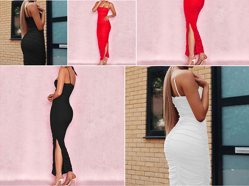 Sibybo Mesh Transparent Split Sexy Long Dress Party Spaghetti Strap Sleeveless Maxi Dress Summer Backless Bodycon Dress Women 9