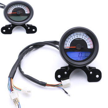 Universal Motorcycle LCD Instrument DC 12V Scooter Speedometer Odometer Tachometer with Fuel Meter Motorbike Motor Retro Meters