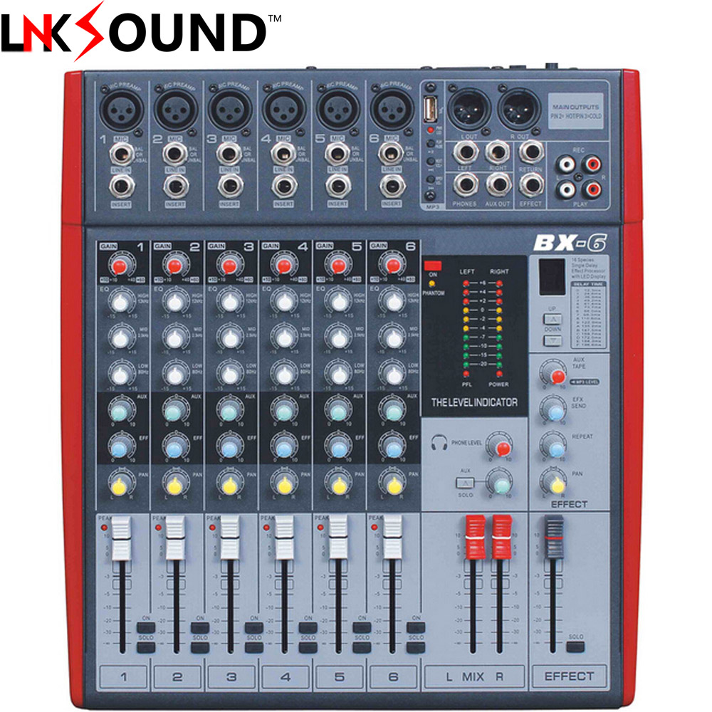 free shipping sound mixer system 6 channel mixing console mesa de som professional audio sound. Black Bedroom Furniture Sets. Home Design Ideas