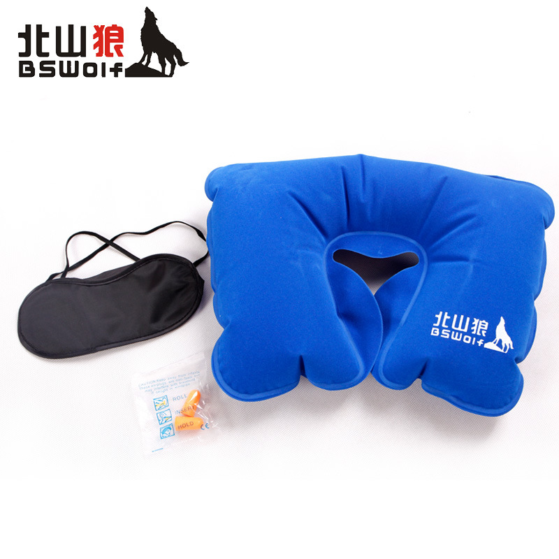 Portable U Type Neck Pillow Protective Folding Air Cushion Inflatable Pillow Travel Outdoor Three-piece Ear Plugs Eye Mask