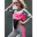 2017 Women Spring Autumn VS PINK Long Sleeve Sweatshirt Loose Casual Tees Tops color blocking Letters Ladies hoodies