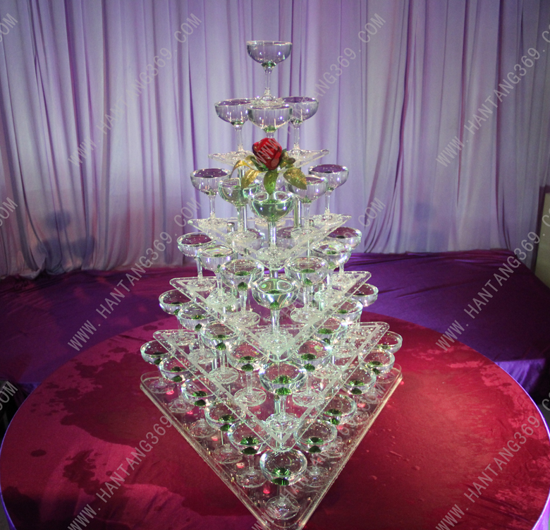 Five tier arcrylic champagne tower Luxury Hotels Dessert Aircraft cup Stand Banquet champagne tower wedding decoration