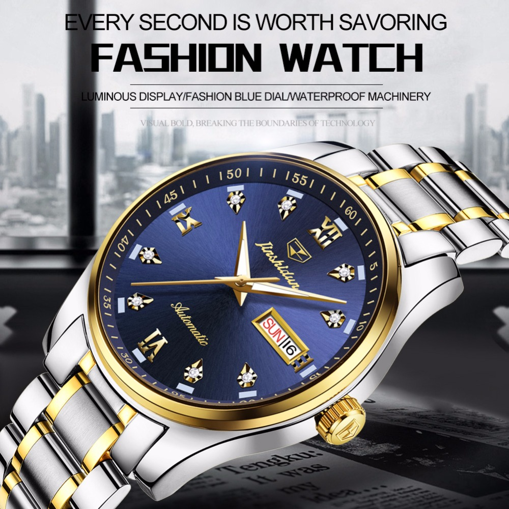 Mechanical watch for men stainless steel watch mens watches top brand luxury JSDUN automatic Business waterproof relojes hombre mens watches automatic mechanical watch mens stainless steel casual business wristwatch relojes hombre top brand burei luxury