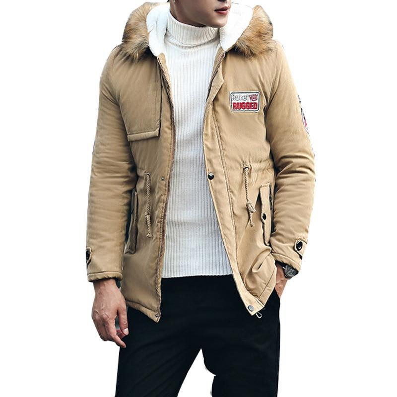 jacket men 2019 new men's thick warm winter down coat long fur collar army green men parka Fleece cotton coat jacket parka men