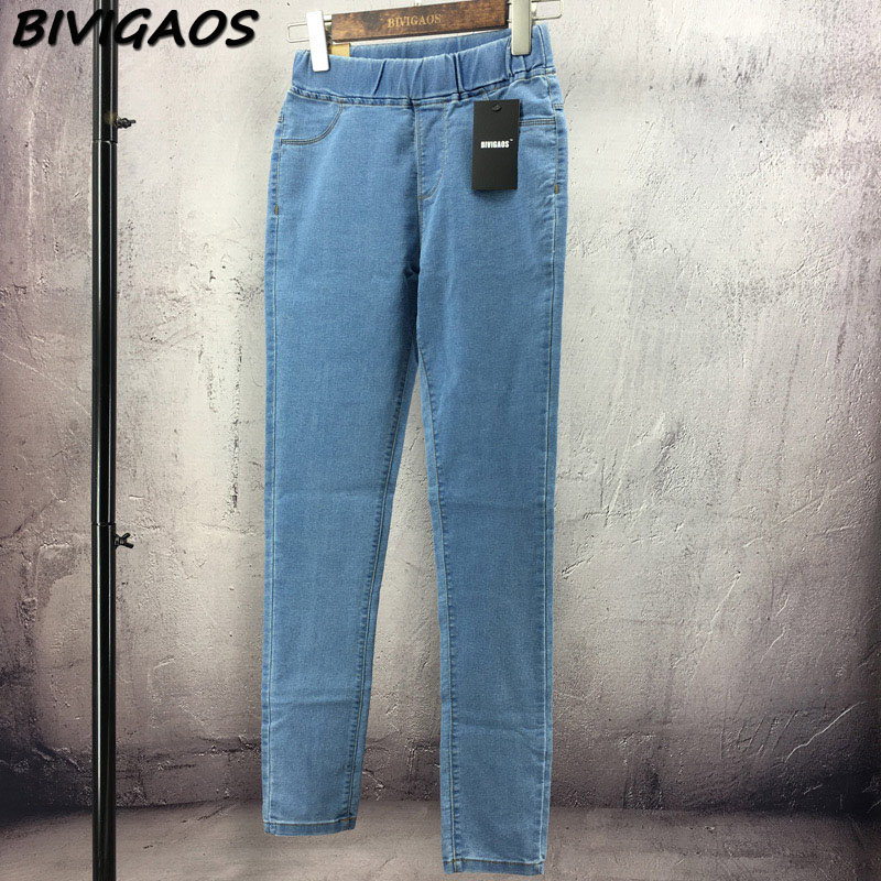 BIVIGAOS Basic Skinny Womens Jeans Ankle Pencil Pants Slim Elastic Denim Pants Jean Leggings Female Cotton Jeggings Jeans Women 42