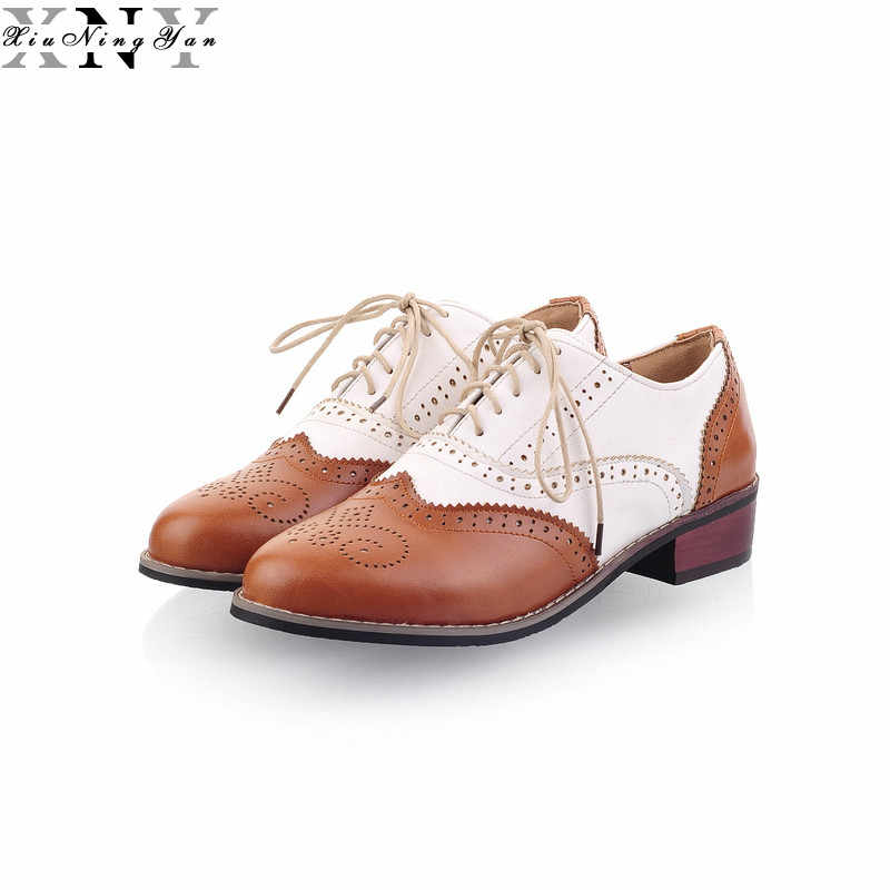 XIUNINGYAN New 2019 Women's Brogue Flats Shoes Mixed Color Leather Oxfords Vintage Casual Shoes Spring Autumn Women Oxford Shoe