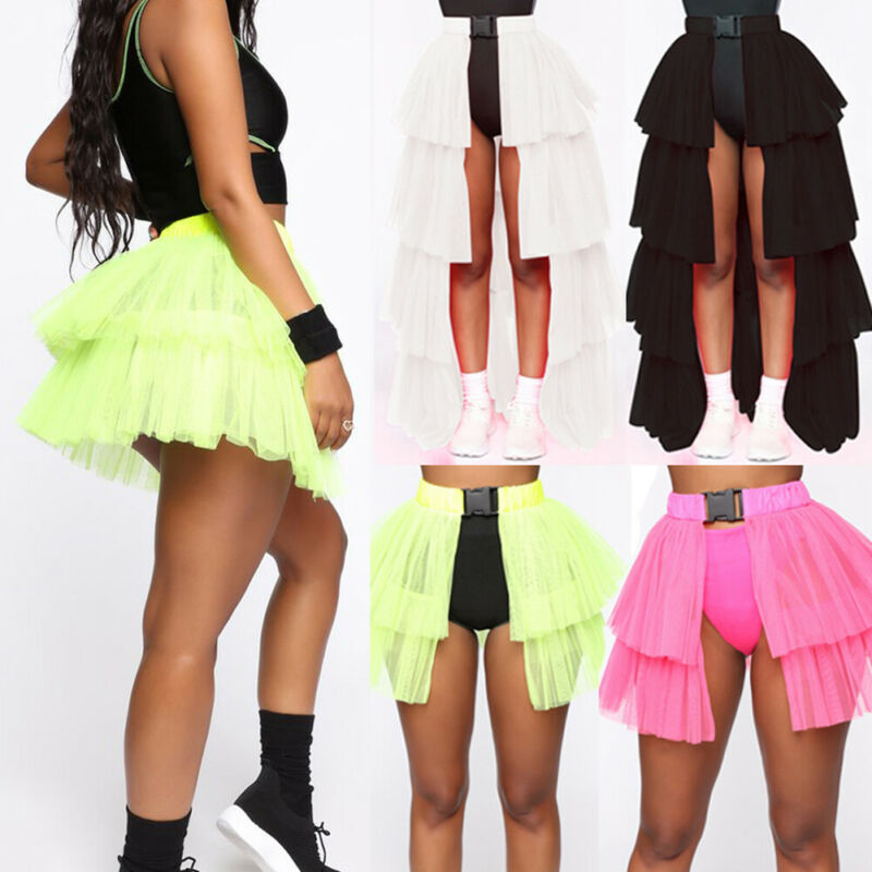 Fashion Women Club Party Lace Skirt A-line Elastic Waist Mesh Umbrella Skirt Women