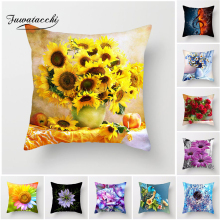 Fuwatacchi Sunflower Rose Cushion Cover Colorful Flower Dandelion Decorative Pillows Decoration Pillowcase For Car Home