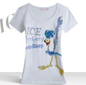 Cartoon Bird Printed Sequins Brand Women's Clothing O-Neck Short Sleeve Cotton Summer New 2014 T-shirt Plus Size - Top Fashion NO.1 store