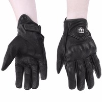 Men Motorcycle Gloves Outdoor Sports Full Finger Motorcycle Riding Protective Armor Black Short Leather Warm Gloves
