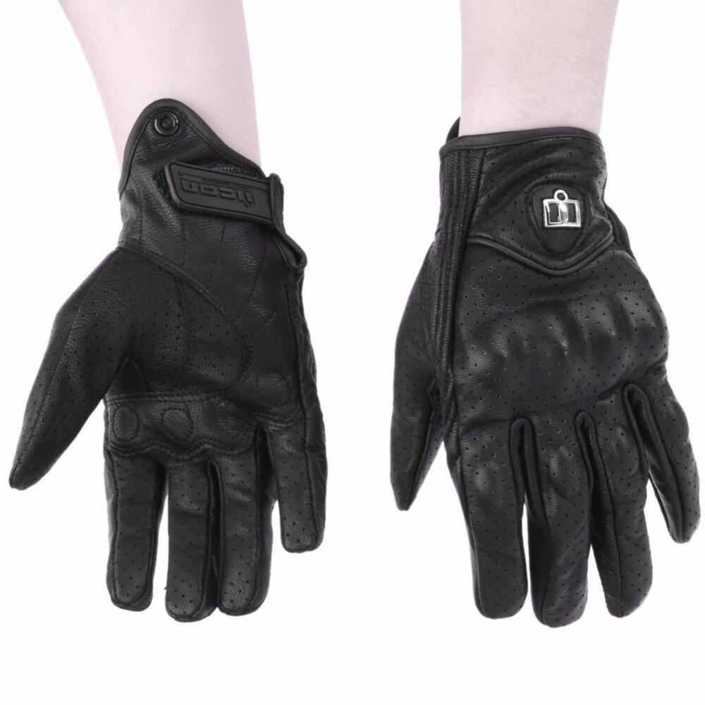 Uomini Moto Sport Esterno Completa Finger Equitazione Moto Proteggere Armored Nero Corto In Pelle Luvas Caldo Da Motociclo M L XL
