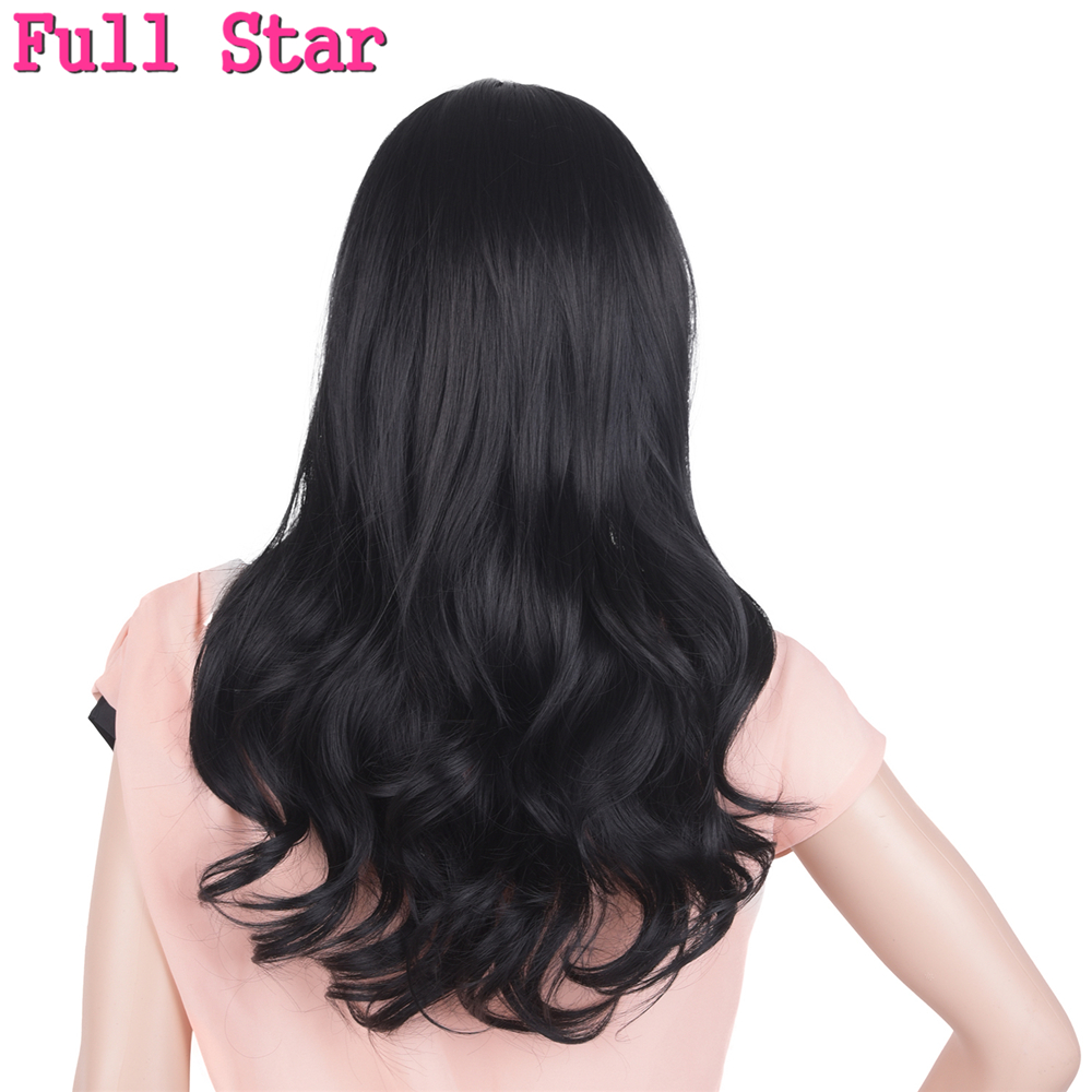 Full Star Black Ombre Pink Brown Hair Wig Synthetic High Temperature Fiber Long 280g Hair Natural wave Wigs for Black Women