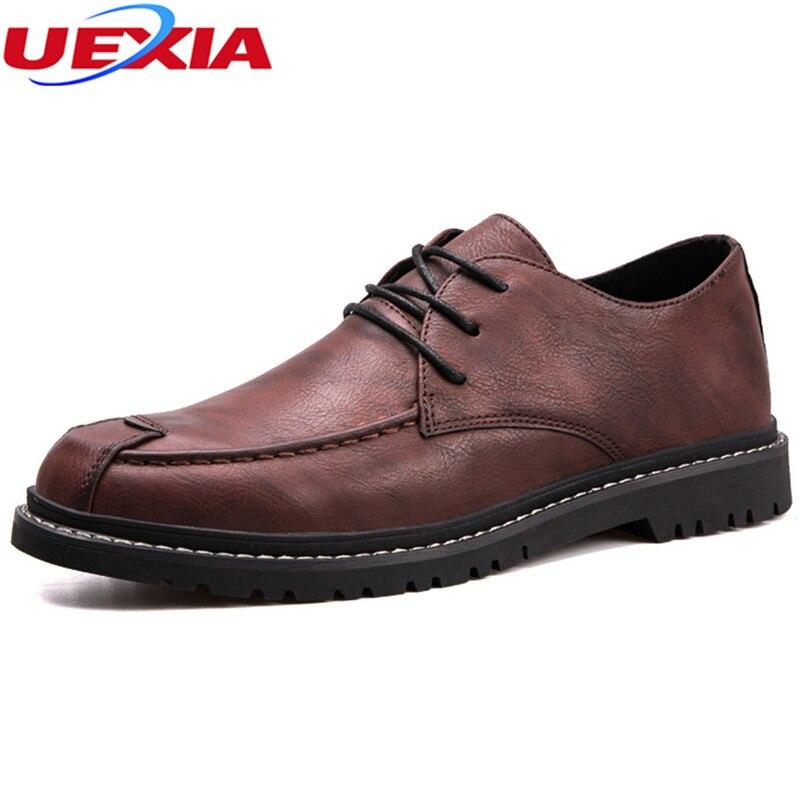 Uexia hombre vestido zapato de cuero negocios Zapatos deslizamiento en hombre negro formal elegante lujo Seasons moda masculina pisos punta estrecha trabajo