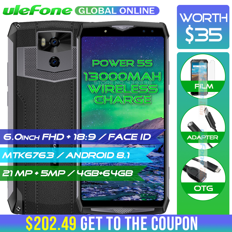 Ulefone Puissance 5S 13000 mah 4g Smartphone 6.0 FHD MTK6763 Octa base Android 8.1 4 gb + 64 gb 21MP Sans Fil chargeur Mobile Téléphone Visage