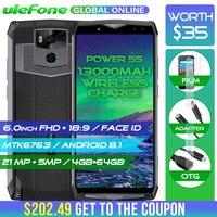 Ulefone Мощность 5S 13000 мАч смартфон 4G 6,0 FHD MTK6763 Octa Core Android 8,1 4G B + 6 4G B 21MP Беспроводной зарядное устройство мобильный телефон лица