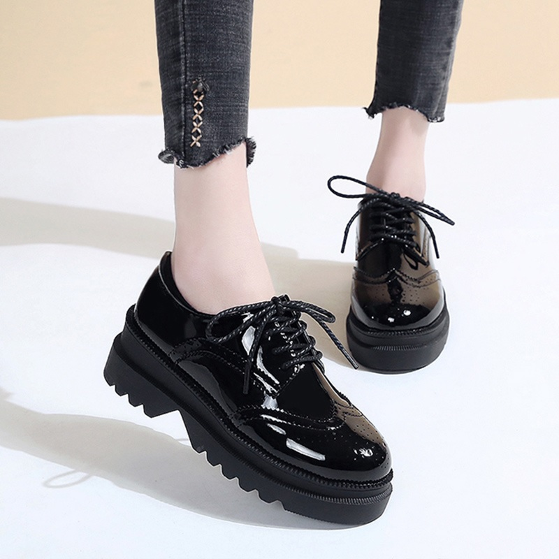 Brogue Shoes Flats Comfortable Lace