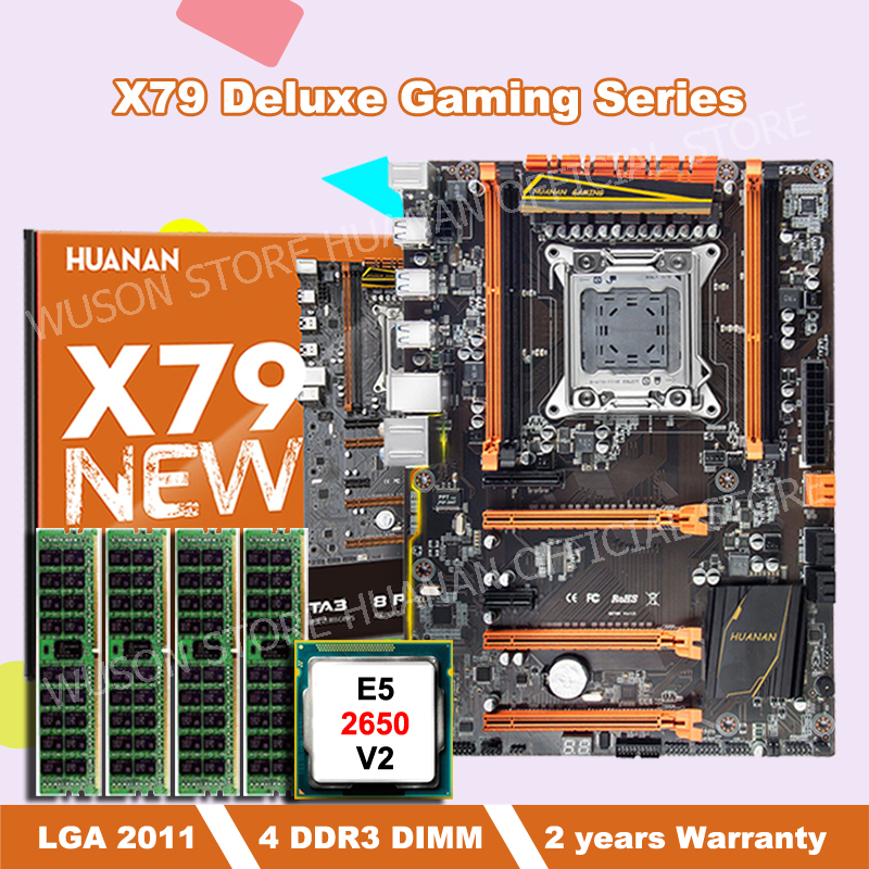 HOT SALE!!!HUANAN deluxe X79 motherboard with Xeon E5 2650 V2 CPU and 16G(4*4G) DDR3 RECC RAM all be tested before shipping huanan x79 motherboard cpu ram combos with cooler v2 49 x79 lga2011 processor xeon e5 2680 v2 ram 16g 4 4g ddr3 recc all tested